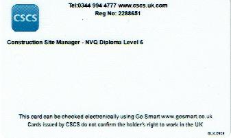 Reverse of Black CSCS card